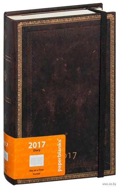 """Ежедневник Paperblanks """"Черная Марокканская кожа"""" на 2017 год (формат: 130x180 мм, миди)"""