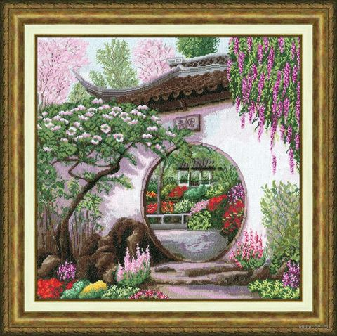 """Вышивка крестом """"Весна в Японии"""" (384х384 мм) — фото, картинка"""