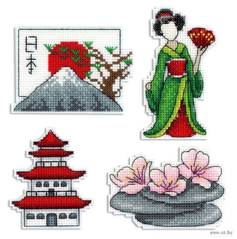 """Вышивка крестом """"Япония"""" (60х90 мм; на магните) — фото, картинка"""