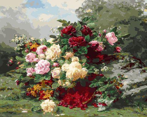"""Картина по номерам """"Розы и ягодная корзина"""" (400х500 мм) — фото, картинка"""