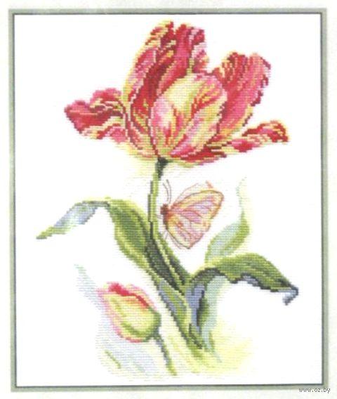 """Вышивка крестом """"Тюльпан и бабочка"""""""