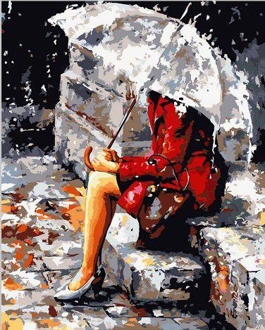 """Картина по номерам """"Размышления под дождем"""" (400х500 мм; цветной холст)"""