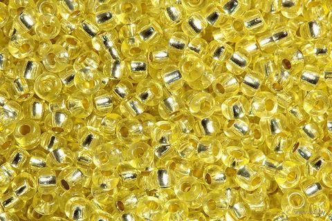 Бисер прозрачный с серебристым центром №08283 (светло-желтый; 10/0) — фото, картинка