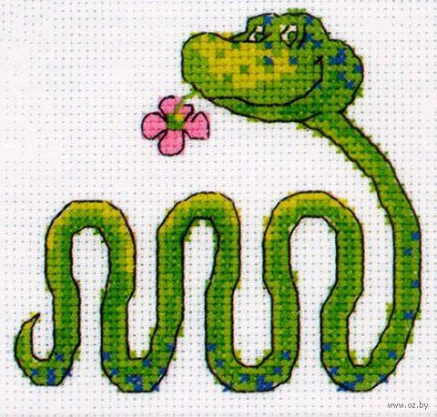 """Вышивка крестом """"Змейка с цветком"""""""