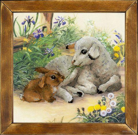 """Вышивка крестом """"Ягненок и кролик"""""""