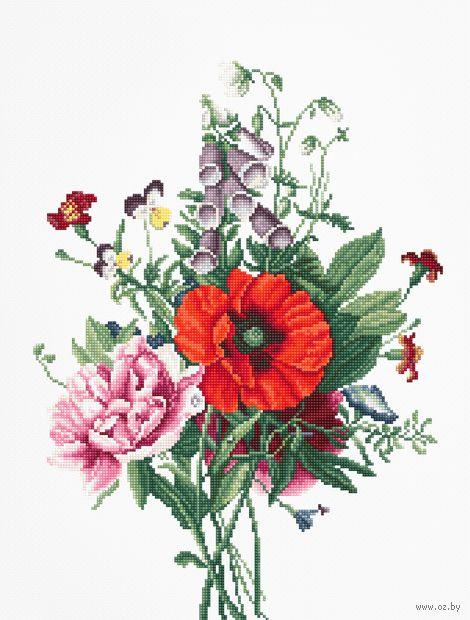 """Вышивка крестом """"Букет цветов"""" (190х255 мм) — фото, картинка"""