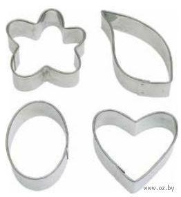 """Набор форм для вырезания теста металлических """"Цветок, лист, овал, сердце"""" (4 шт.)"""