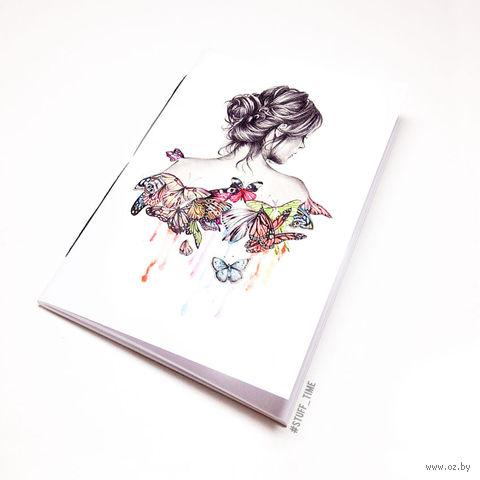 """Блокнот белый """"Девушка с бабочками"""" А5 (717)"""