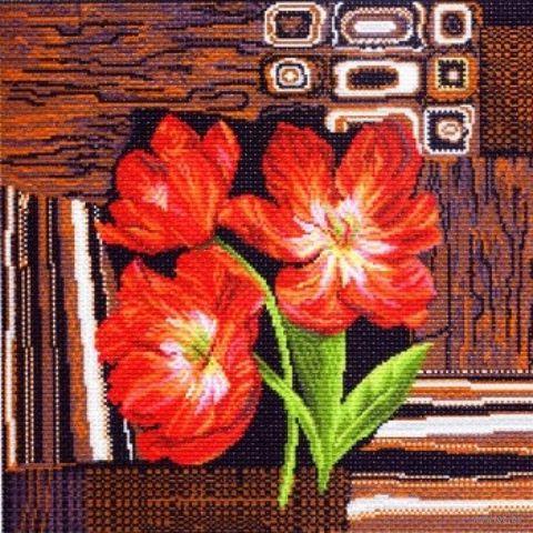 """Канва с нанесенным рисунком """"Тюльпаны на ковре"""""""