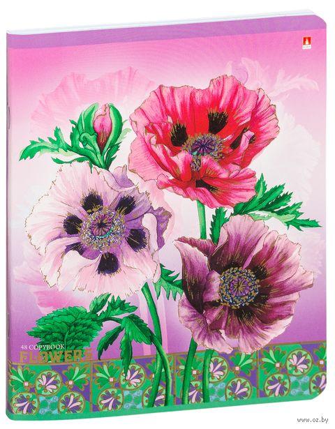 """Тетрадь полуобщая в клетку """"Цветы"""" (48 листов; в ассортименте) — фото, картинка"""