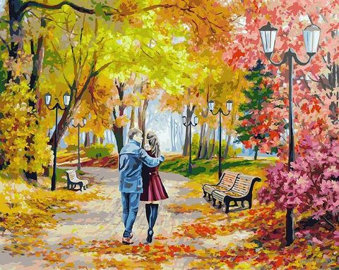 "Картина по номерам ""Осенний парк, скамейка, двое"" (400х500 мм) — фото, картинка"