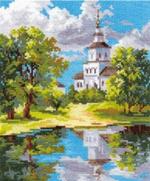 """Вышивка крестом """"Храм у пруда"""""""