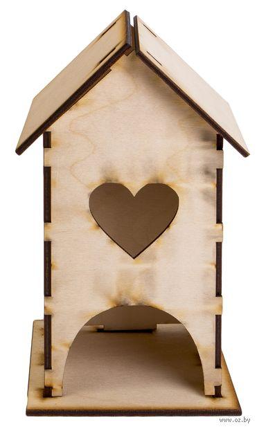 """Заготовка деревянная """"Чайный домик с сердечком"""" (220х100х100 мм) — фото, картинка"""