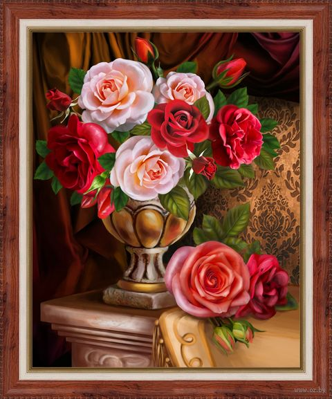 """Алмазная вышивка-мозаика """"Благородные розы"""" (300х400 мм) — фото, картинка"""