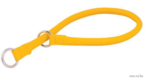 """Ошейник-удавка из натуральной кожи рывковый """"Glamour"""" (55х1,3 см; желтый) — фото, картинка"""