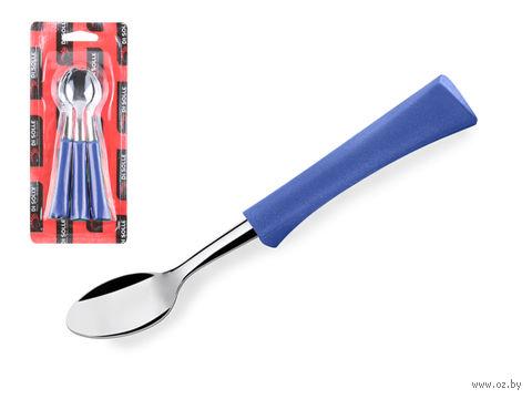 """Ложка чайная металлическая """"Inova D+"""" (3 шт.; голубая) — фото, картинка"""