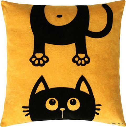 """Подушка """"Meow"""" (35x35 см; жёлтая) — фото, картинка"""