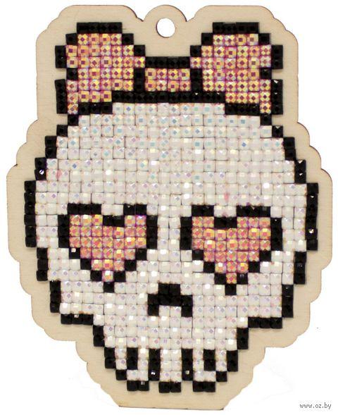 """Алмазная вышивка-мозаика """"Брелок. Милый череп"""" (73х91 мм) — фото, картинка"""