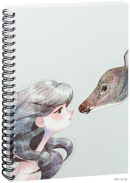 """Блокнот в клетку """"Девушка с оленем"""" (A5; арт. 946)"""