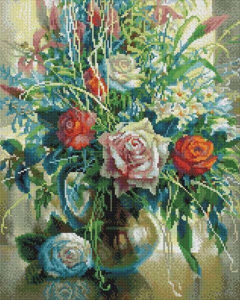 """Алмазная вышивка-мозаика """"Натюрморт с белой розой"""" (400х500 мм) — фото, картинка"""