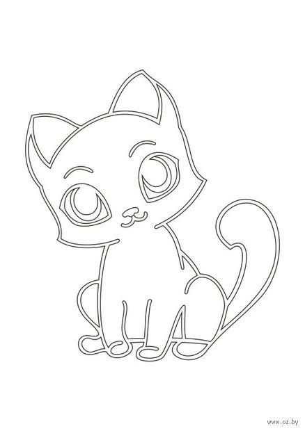 """Трафарет для рисования песком """"Кот с большими глазами"""" (А5)"""