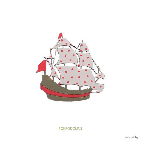 """Значок """"Корабль с парусами"""" (арт. 134-3) — фото, картинка"""