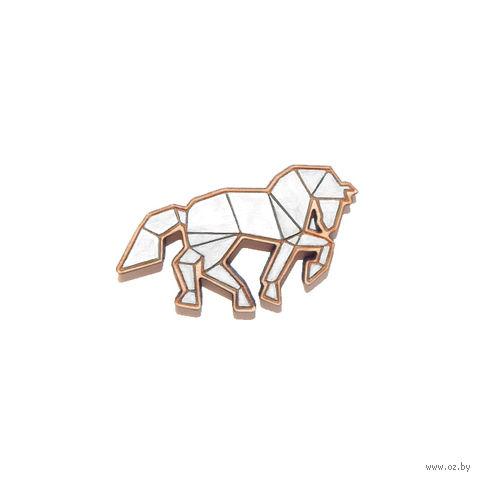 """Значок деревянный """"Оригами. Конь"""" (белый)"""