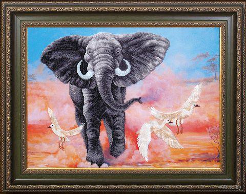 "Вышивка бисером ""Африканский слон"" (420х310 мм) — фото, картинка"