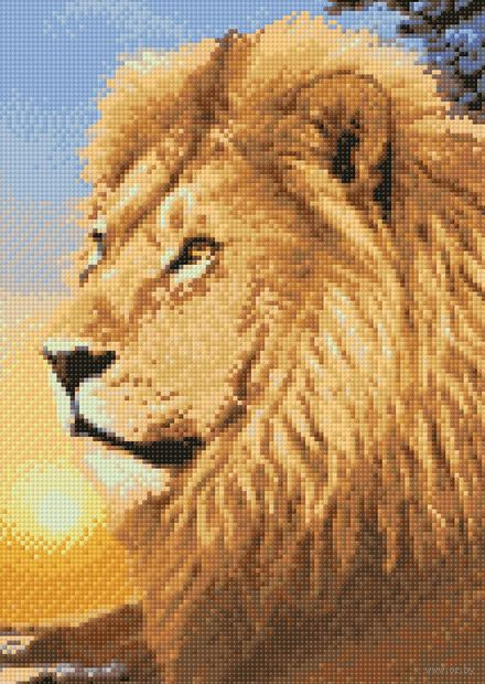 "Алмазная вышивка-мозаика ""Хозяин Африки"" (270х380 мм) — фото, картинка"