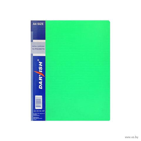 """Папка """"Darvish"""" с прозрачными файлами DV05-10Р (А4; 10 листов; цвет: зеленый)"""