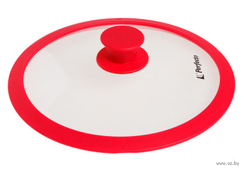 Крышка стеклянная с силиконовым ободом (26 см; красный) — фото, картинка