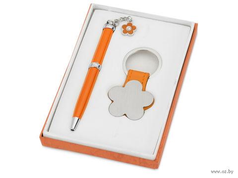 """Набор. Шариковая синяя ручка. брелок """"Цветок"""" (оранжевый корпус)"""