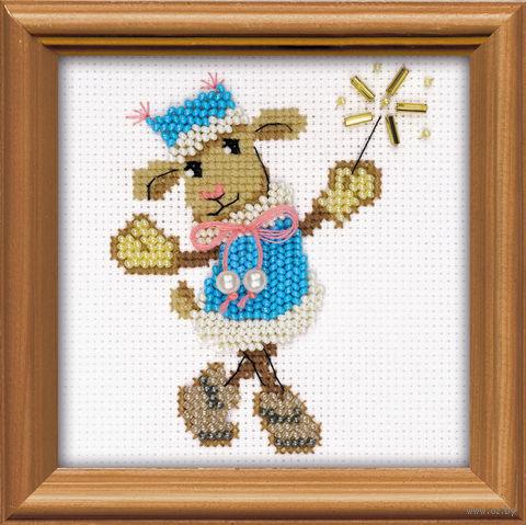 "Набор для вышивания ""Овечка Снегурочка"" (100х100 мм) — фото, картинка"