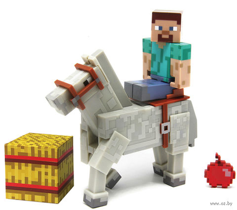 "Фигурка ""Minecraft. Steve With White Horse"" (8 см)"