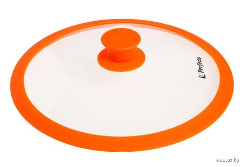 Крышка стеклянная с силиконовым ободом (26 см; оранжевая) — фото, картинка