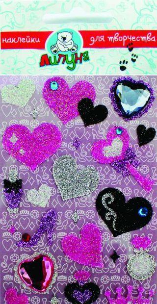 """Наклейки блестящие """"Сердца и аксессуары"""""""