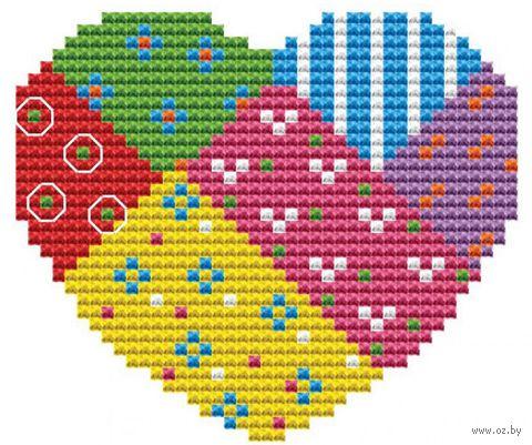 "Вышивка крестом ""Брелок. Сердце"" (80 мм) — фото, картинка"