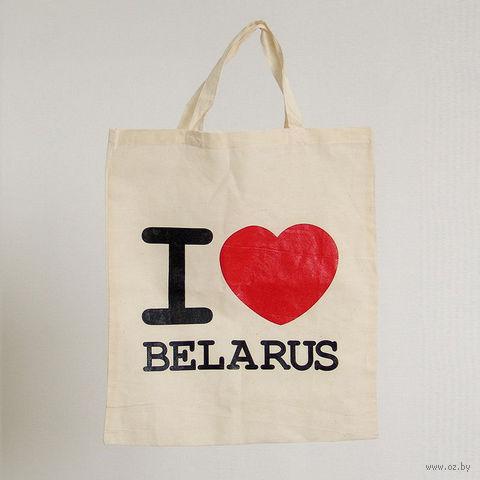 """Сумка для покупок Vitaem """"I LOVE BELARUS"""" (бежевая)"""