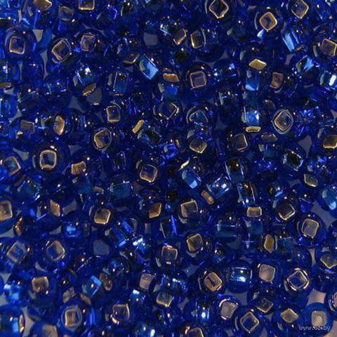 Бисер прозрачный с серебристым центром №37080 (темно-голубой; 10/0)