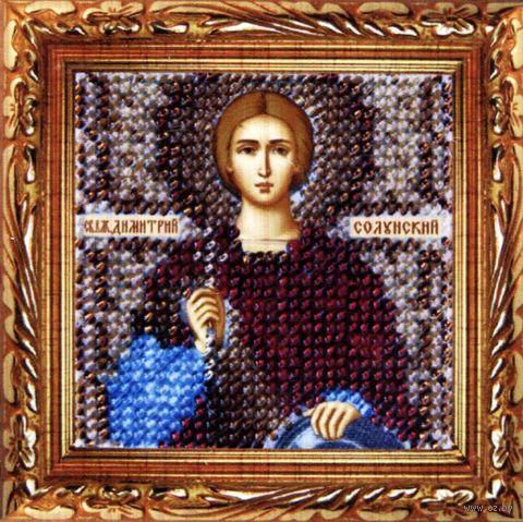 """Вышивка бисером """"Св. Великомученик Димитрий Солунский"""" (65х65 мм) — фото, картинка"""