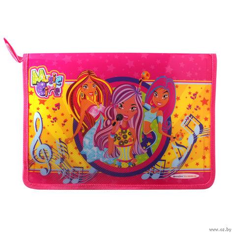 """Папка для тетрадей на молнии """"Music Girls"""" (А4; цвет: ассорти; арт. DV-2695-02)"""
