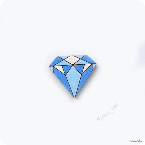 "Мини-брошка деревянная ""Алмаз"" (арт. 057, голубая) — фото, картинка"