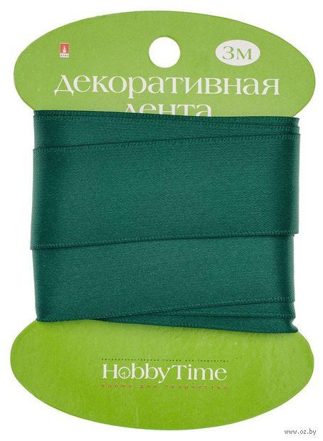 """Лента атласная """"Hobby Time"""" (темно-зеленая; 25 мм; 3 м) — фото, картинка"""