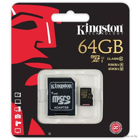 Карта памяти micro SDXC 64Gb KINGSTON Class 10 UHS-I U1 R/W 90/45 MB/s с адаптером (SDCA10/64GB) — фото, картинка