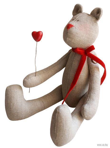 """Набор для шитья из ткани """"Мишка с сердечком"""" — фото, картинка"""