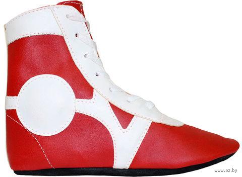 Обувь для самбо SM-0102 (р. 42; кожа; красная) — фото, картинка