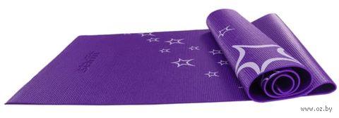 Коврик для йоги FM-102 (173x61x0,6 см; фиолетовый с рисунком) — фото, картинка
