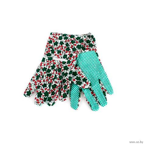 Перчатки текстильные с противоскользящими точками для садовых работ женские (1 пара; 23х11 см)