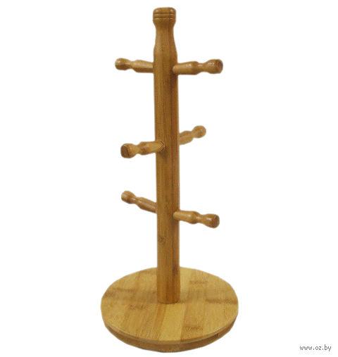 Вешалка для чашек бамбуковая на 6 чашек (16х35 см)