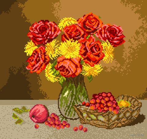 """Вышивка крестом """"Огненные розы"""" (290х310 мм) — фото, картинка"""